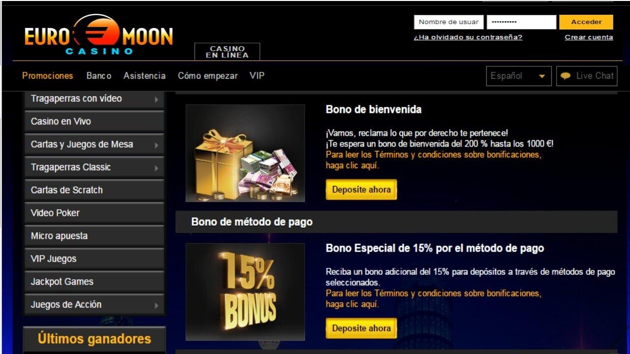 15% de bonificación por método de ingreso Casino Euromoon
