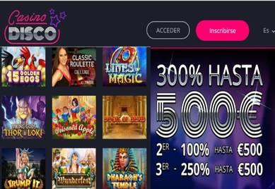 Casino Disco entrega 300% con un límite de 500 euros por ingresos