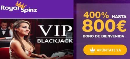25 tiradas gratis y un incremento de 400% hasta por 800 euros en Casino Royal Spinz
