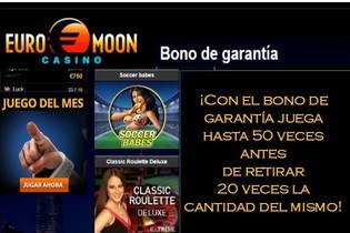 Bono de garantía Casino Euromoon 50 tiradas y 20 veces el monto del bono